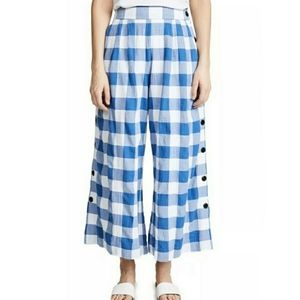 Mara Hoffman Angie High Waist Pants Blue Gingham 4